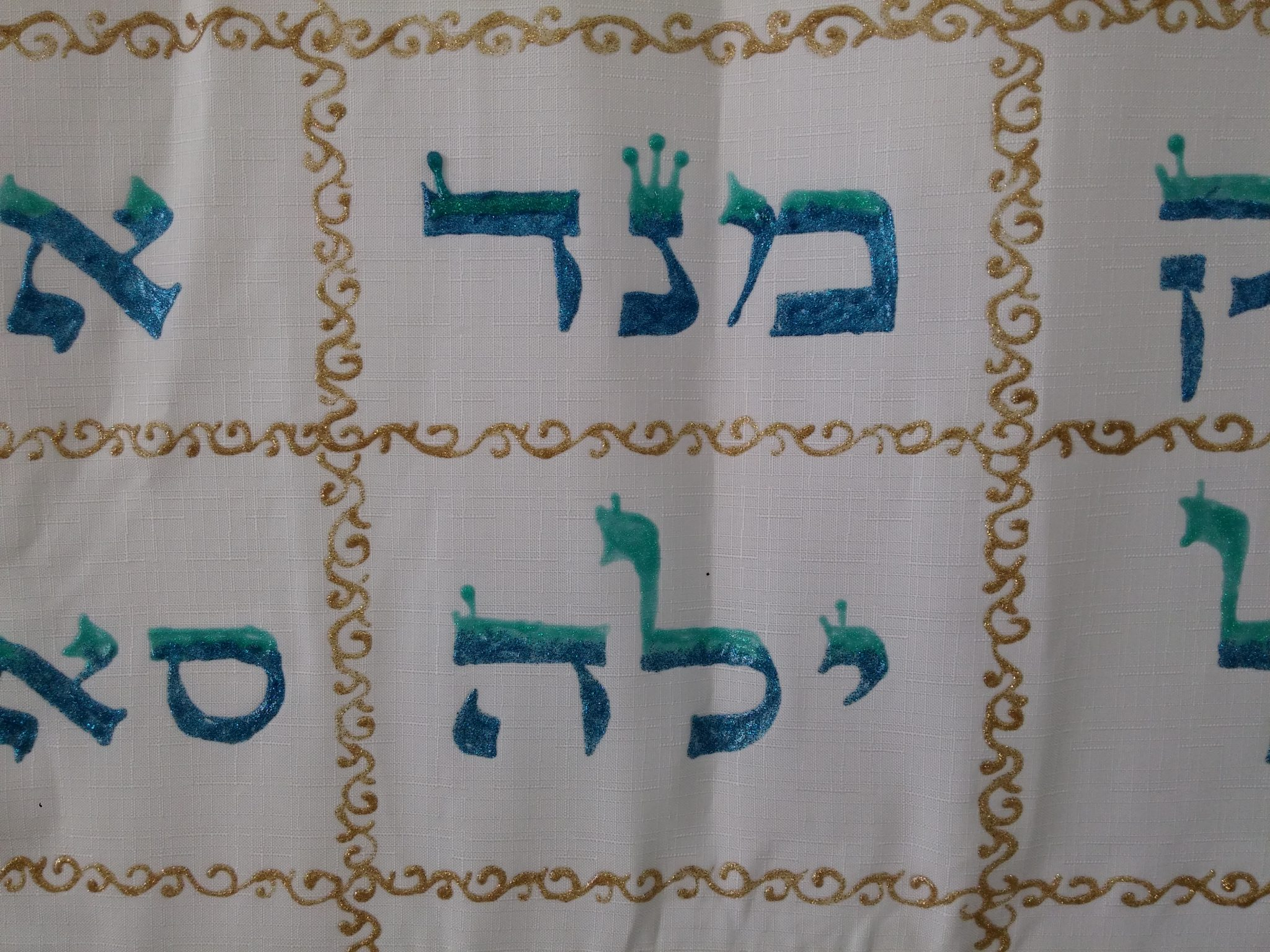 The 72 name of God, 77X56 inch, turquise/blue/gold